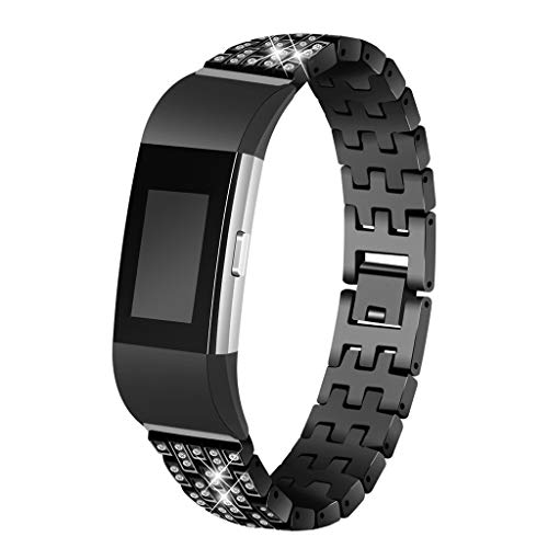 Smart Watch mit Perlen Diamantarmband Edelstahl Armband Armband Ersatz für Fitbit Charge 2 Smart Watch Strap Wuqy