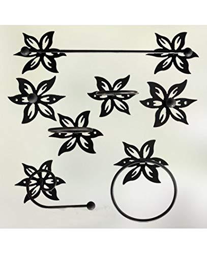 Hogares con Estilo - Juego de baño de Hierro Forjado artesanalmente en España formado por 7 Piezas. Modelo JAZMÍN Color Blanco