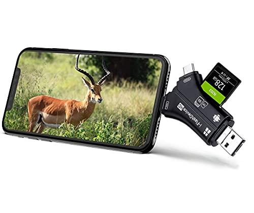 AlfaView 4 en 1 SD&TF Lector de Tarjetas de Memoria, SD de Memoria y Adaptador USB 2.0 con USB Micro/Tipo C/Lightning/Conector USB para para Apple iPhone, iPad, MacBook y Android (Negro)