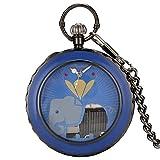 Manivela de Oro Negro Reproducción de música Elefante Diseño Animal Reloj de Bolsillo de Cuarzo Movimiento Musical Fob Steampunk Reloj de Cadena Regalos Azul