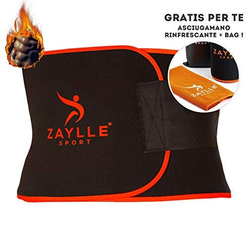 Zaylle - Fascia Dimagrante Addominale Uomo Donna - Cintura Effetto Sauna - 2a Generazione Ideale per Casi di Ritenzione Idrica - Pancera Snellente - in Omaggio Asciugamano Palestra Refrigerante
