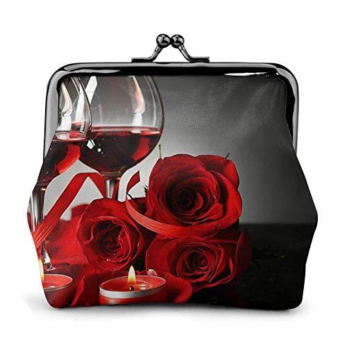 Monedero de rosa roja y vino romántico para amantes de la decoración de monedero, Bule -Lo pequeño bolsa de cuero para cambio de regalo para las mujeres