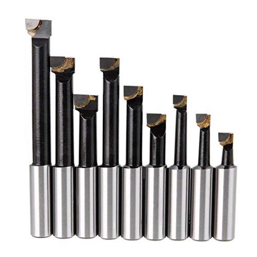 LKK-KK 9Pcs Durable Hard Alloy Shank Boring Bar Set Carbide Tipped Bars 12Mm for 2 50Mm Boring Head for Lathe Milling Mayitr