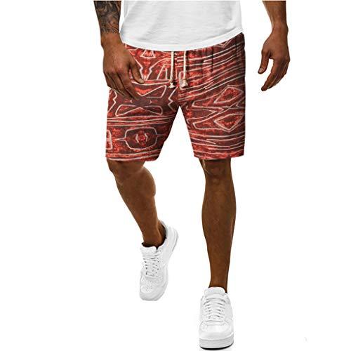 GreatestPAK Sommer Shorts Herren Ethno-Print Multi-Pocket Nähte Baumwolle Leinen Arbeitsshorts Kurze Cargo Pants,Rot,M