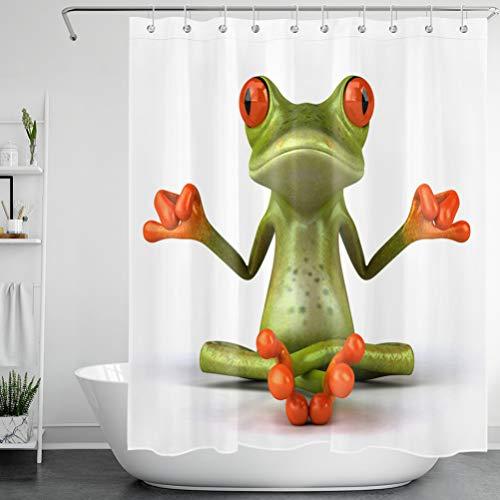LB Yoga-Frosch Duschvorhang Zen-Tier Polyester Stoff Lang Bad Gardinen Wasserdicht Anti Schimmel Badezimmer Deko Heimzubehör mit Vorhanghaken,150X180cm