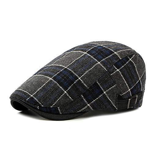 YUHUALI Herbst und Winter Schurwolle Baskenmütze Männer koreanische Mode Kappe Frauen flache Kappe britische klassische Plaid