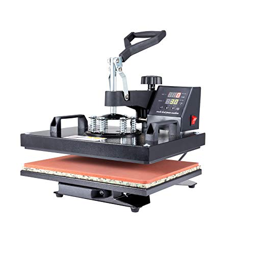 Valens 5 IN 1 Transferpresse 38x30cm Hitzepressemaschine Heißpresse Textilpresse Tassenpresse Heat Press Multifunktionale Sublimation druckmaschine 360-Grad-Drehung für T-Shirt Platte Kappe