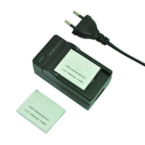 mondpalast@ 2X Reemplazo 1060mah Batería + cargador NB-6LH NB6LH para Canon PowerShot S120 S90 S95 IXUS 105 IS 200 SX520 HS SX500 HS SX510 HS SX710 HS SX610 HS SX700 HS