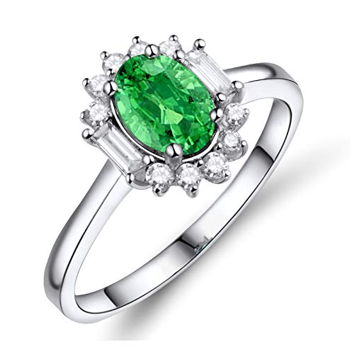 KnSam Anillo de mujer con esmeralda ovalada, diamante redondo, anillo de boda de oro blanco de 18 quilates (750), anillo de oro blanco para hombre, anillo de boda, color blanco, oro 47 (15.0)