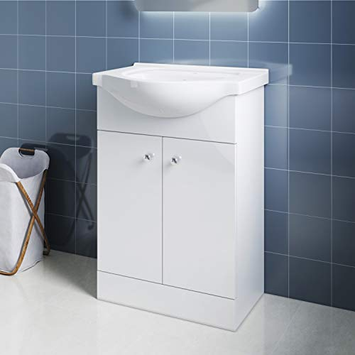 Elegant Badmöbel Waschbecken mit Unterschrank 2in1 Set Waschtisch bodenstehend Weiß Hochglanz 560mm