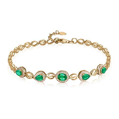 Beydodo Pulseras Mujer Oro Verde,Pulsera Mujer Oro Amarillo 18 Kilates Oval y Gota de Agua Esmeralda Verde 0.88ct Longitud 16cm + 2cm