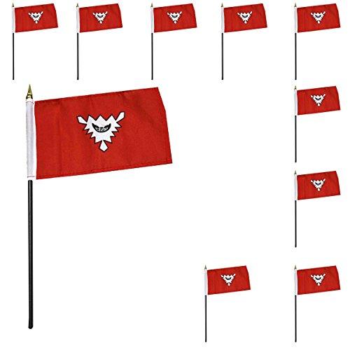 Sonia Originelli 10er Set Mini Flaggen WM Fußball 10x15 cm Party Anfeuern Fahnen Farbe Kiel