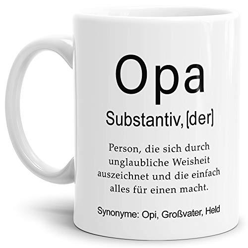 Tassendruck Tasse mit Definition Opa - Wörterbuch/Geschenk-Idee/Dictionary/Beruf/Job/Arbeit/Familie/Weiss