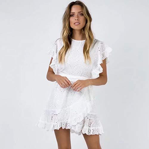 Deli Boho Floral Mini Vestido Bordado Blanco Elegante Manga Corta O CuelloVestido Ropa De Verano Vestido Corto Fiesta Elegante