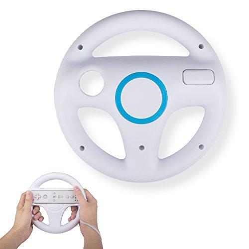 Mario Kart Steering Wheel Compatible with Nintendo Wii Remotes, TechKen Mario Kart Racing Wheel Compatible with Nintendo Wii, Mario Kart, Tank, more Wii or Wii U racing games (White)