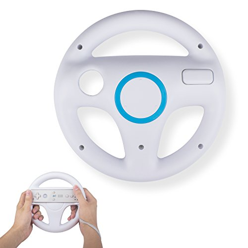 Mario Kart Steering Wheel Compatible with Nintendo Wii Remotes, TechKen Mario Kart Racing Wheel Compatible with Nintendo Wii, Mario Kart, Tank, more Wii or Wii U racing games (White)