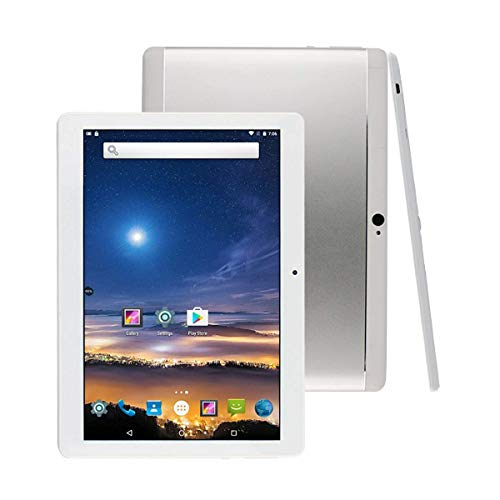 Tableta 10 Pulgadas Android 8.1 Octa Core 4GB RAM 64GB ROM Tablet PC WiFi incorporada Bluetooth y cámara GPS Dos Ranuras para Tarjetas SIM Desbloqueadas Llamada telefónica 3G Phablet (Metal Plata)