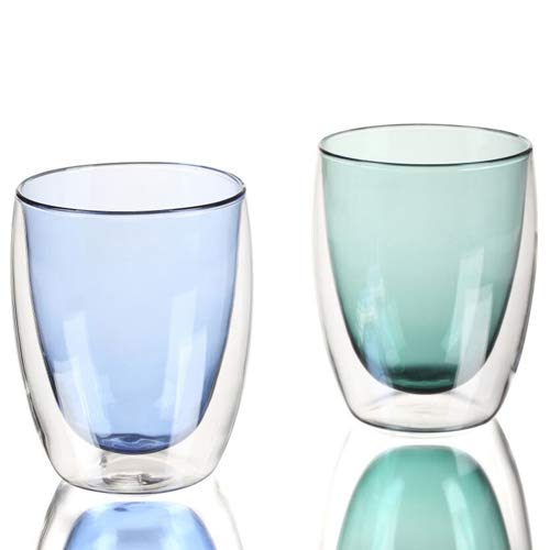 GuangYang Dubbelwandige glazen koffiekopjes, set van 2.400ml latte glazen mokken, dubbel glas koffiekopjes, helder blauw/groen zwart