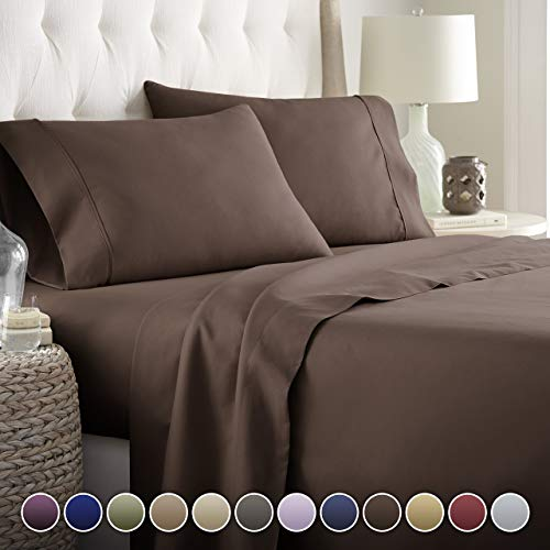 Hotel Luxury Bed Sheets Set-SALE TODAY ONLY! On Amazon-Top Quality Softest Bedding 1800 Series Platinum Collection-100%!Deep Pocket, Wrinkle & Fade Resistant(Queen,Brown)