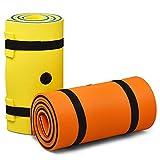 goplus tappeto galleggiante per piscina e mare, tappetino galleggiante per adulti e bambini, amaca d'acqua pieghevole, arancia, 210x66x3,5 cm