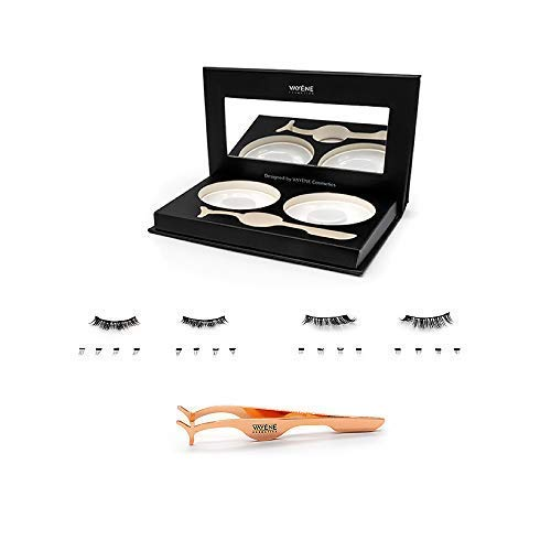 VAYÈNE® [2 Paar] Magnetische Wimpern in einer Spiegelbox + PINZETTE - wasserfeste Fake Lashes - 3D wiederverwendbare künstliche Wimper - vegane Magnet Wimpern - falsche Wimpernverlängerung