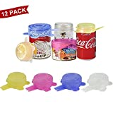 Longzon Silicone Stretch Lids, 12 Pack Small, Reusable Durable Food Storage Covers for Cups Small Bowls Cans Jars Fruits Vegetables, the Same Sizes of 2.6 Inch (Can Stretches to 3.5 Inches)