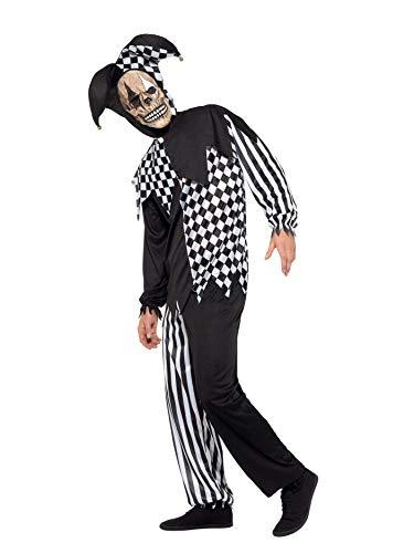 Smiffys Costume giullare di corte malvagio, Bianco e Nero, con top, pantaloni, copricapo