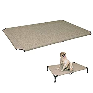 Veehoo Cooling Elevated Dog Bed Replacement Cover, Washable & Breathable Pet Cot Bed Mat, X Large, Beige Coffee