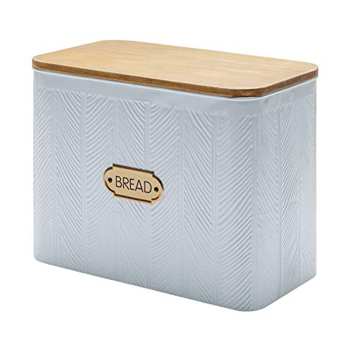 NIKKY HOME Extra Large Space Saving Vertical Bread Box With Cutting Board Lid - Holds 2 Loaves - Farmhouse Breadbox Bread Storage Bin Holder for Kitchen Countertop, White