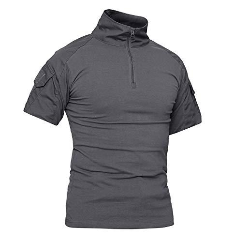 KEFITEVD Army Shirt Herren Camouflage US Army Hemd Funktionsshirt Militärkleidung Tactical Camo Shirt Flecktarn Laushirt Sommer Angeln Grau M
