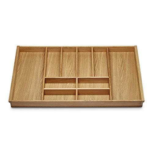 EICHE Besteckeinsatz für 90er Schublade z.B. Nobilia ab 2013 (473 x 797 mm) Holz-Besteckeinlage mit 10 Fächer ORGA-BOX III