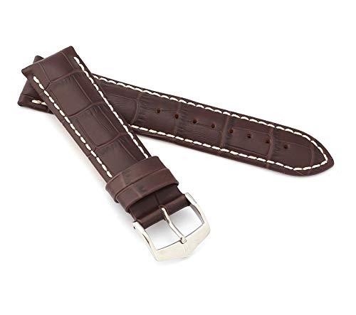 Hirsch Uhrenarmband für Herren, Leder, 20 mm, Stahlschließe, 10302810-2-20
