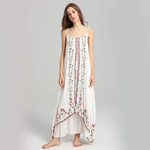 NOBRAND Vestido De Verano para Mujer Nuevo Vestido Retro De Estilo Étnico Vestido De Playa De Vacaciones De Viaje Bohemio Vestido Largo Bordado XL Blanco