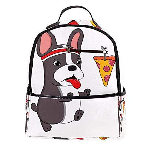 ATOMO Mini mochila casual bulldog francés y pizza pu cuero viaje bolsas de compras Daypacks