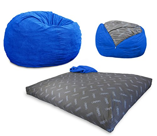 CordaRoy's Corduroy Bean Bag Chair, Convertible Chair Folds from Bean Bag to Bed, As Seen on Shark Tank, Royal Blue - Full Size