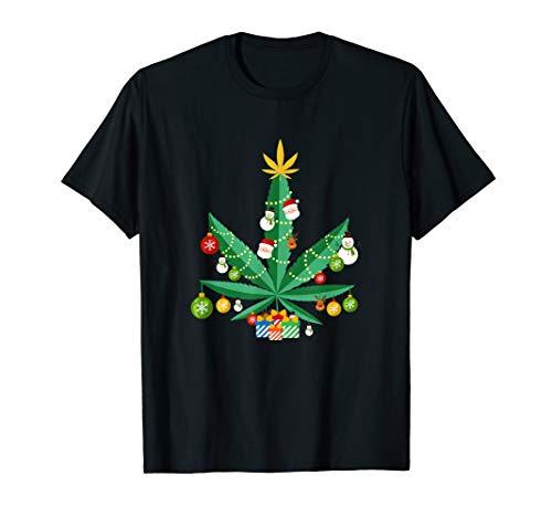 Cannabis Leaf Christmas Tree T-Shirt