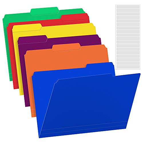 36 Pack Plastic File Folders Colored with Sticky Labels, Sooez Heavy Duty Letter Size Colored File Folders with Erasable 1/3-Cut Tab, Stronger Than Manila File Folder, Perfect for File Organization