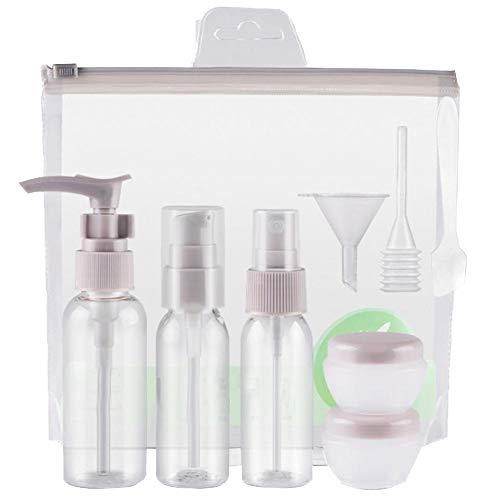 WeiMay 5 Pièces Flacons Vide Kit Voyage Avion Contenant Cosmetique Vide/Bouteille Plastique avec Trousses de Toilette - pour Shampooing et Spray Gris
