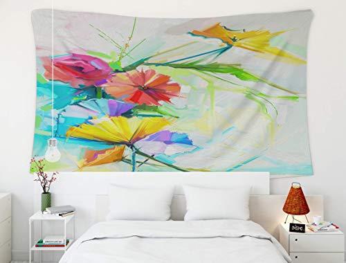 Tapiz de pared colgante, arte Sun Moon Stars, tapiz, tapices para el hogar y el dormitorio D & eacute; cor Pintura al óleo abstracta de flor de primavera Bodegón de amapola amarilla rosa y roja Bouq c