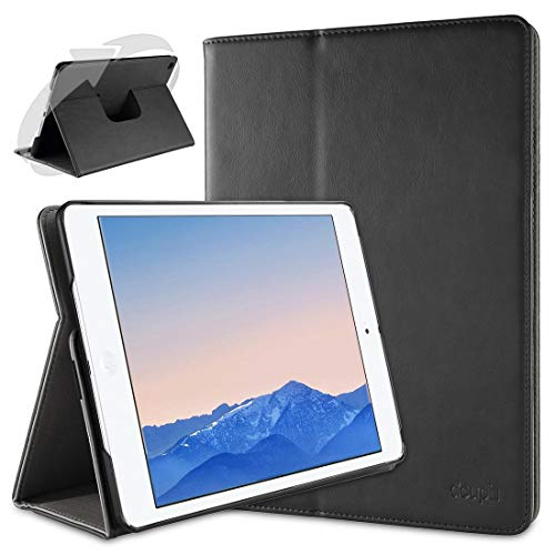 doupi Deluxe Schutzhülle für iPad Mini 1 2 3, Smart Hülle Sleep/Wake Funktion 360 Grad drehbar Schutz Hülle Ständer Cover Tasche, schwarz