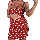 Goosuny Umstandskleid Damen Umstandsmode Spaghetti Trägerkleid Sexy Polka Dot Mutterschaft Schwanger Boho Ärmellos Minikleid Frauen Schwangerschaftskleid Kurz Sommerkleider