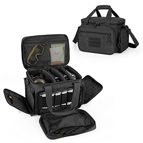 DSLEAF Tactical Gun Range Bag for 4 Handguns, Pistol...