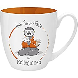 Gruss & Co 45492 Anti-Stress Tasse für die Kollegin, 45 cl, Geschenk, New Bone China, Orange, 9.5 cm