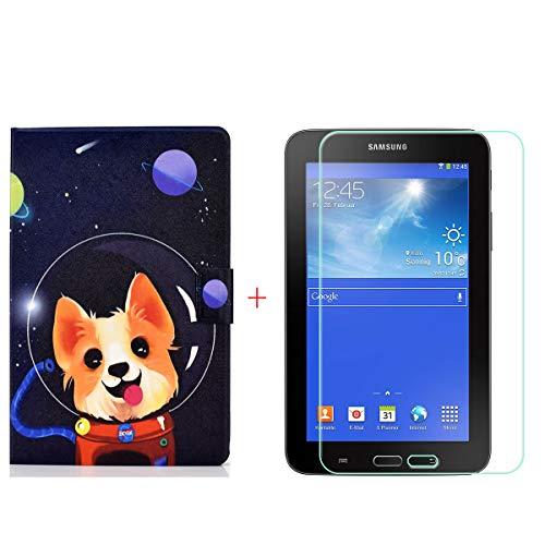 """szjckj para Samsung Galaxy Tab 3 Lite 7.0"""" SM-T110 Tablet Protector de Pantalla + PU Carcasa, Funda Protectora con Función de Soporte - HD Cristal Vidrio Templado Protector - LW106"""