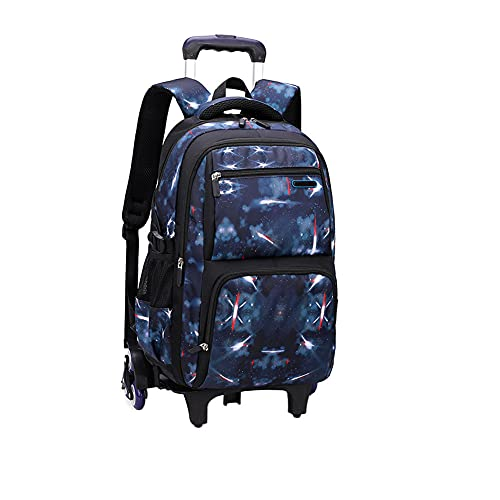 BOZONLI Mochilas Escolares con Ruedas para Niños y Niñas Mochila Escolar Trolley para Escuela Primaria y Secundaria, Azul Real, 30×23×46 cm