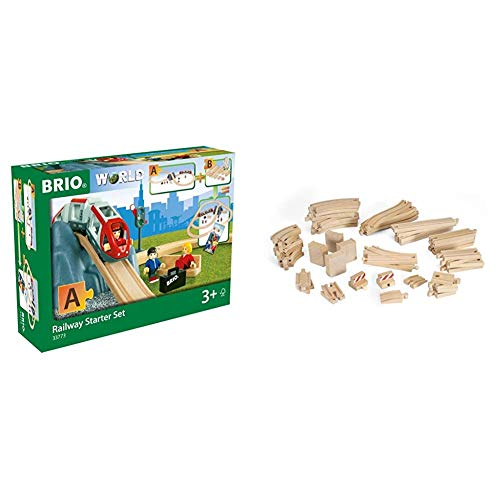 BRIO World - 33773 Railway Starter Set | 26 Piece Toy Train with Accessories and Wooden Tracks for Kids Age 3 and Up & Special Track Pack | 50 Pieces of Wooden Tracks and Train Accessories