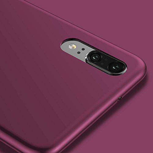 X-level Huawei P20 Hülle, [Guadian Serie] Soft Flex Silikon Premium TPU Echtes Telefongefühl Handyhülle Schutzhülle für Huawei P20 Case Cover [Weinrot] - 3