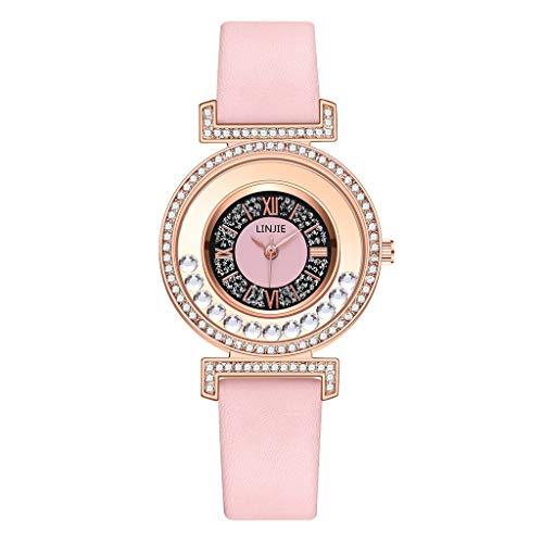 JZDH Relojes para Mujer Diseño Moda Reloj de Mujer Casual Correa de Cuero Diamante Reloj de Cuarzo Vestido Reloj Reloj de Pulsera Lady Relojes Decorativos Casuales para Niñas Damas (Color : Pink)