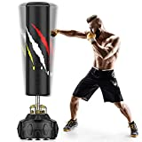 """WGCC Punching Bag with Stand 71""""- 214lbs Heavy Boxing Bag with Durable Suction Base - Adults Kick Punch Bag, Kids Freestanding Punching Bag for Home Office, Black (Small Black)"""