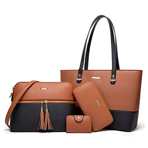 Women Fashion Handbags Tote Bag Shoulder Bag Top Handle Satchel Purse Set 4pcs (Brown-black)